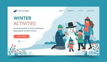 famiglia che fa un pupazzo di neve nella pagina di destinazione invernale vettore