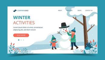 bambini che fanno pupazzo di neve nella landing page invernale vettore