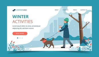uomo che cammina il cane nella pagina di destinazione invernale vettore