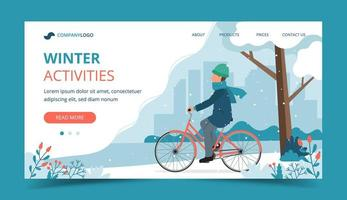 uomo in sella a bici nel parco in landing page invernale