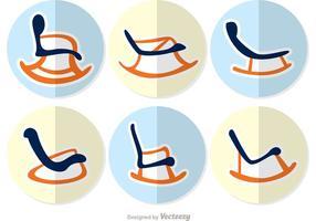 Pacchetto 2 di vettore di progettazione piana della sedia a dondolo