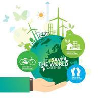 mano verde che tiene terra eco poster