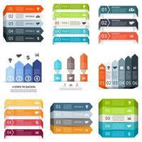 set di schede colorate etichette infografica