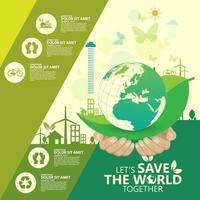 affari verde infografica con mani e terra