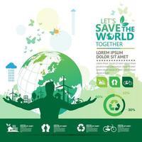 infografica ecologica con silhouette e globo dell'uomo