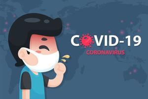 uomo di cartone animato con sintomi di coronavirus covid poster vettore