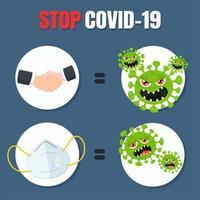 fermare il poster di avvertimento covid-19 vettore
