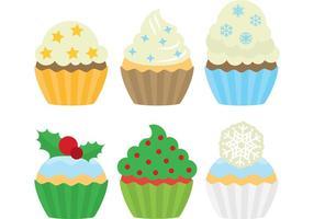 Cupcakes dessert di Natale vettore