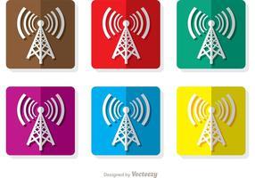 Icone quadrate della torre cellulare vettore