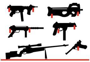 Collezione di fucili e armi da fuoco appesa al muro vettore