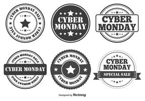 Distintivi di stile retrò Cyber Monday vettore