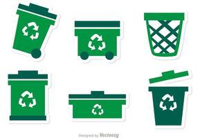 Raccolta del pacchetto di vettore delle icone verdi dell'immondizia