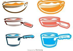 Pacchetto di icone icone contorno di utensili da cucina