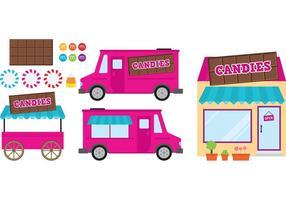 Carrello di cibo rosa e negozio di caramelle vettore