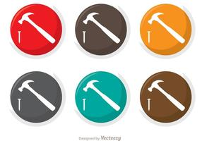 Pacchetto di icone vettoriali di martello e chiodo