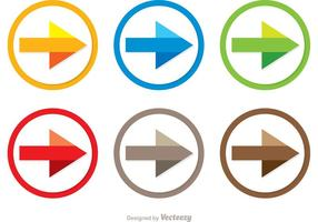 Vettori colorati dell'icona della freccia del punto seguente