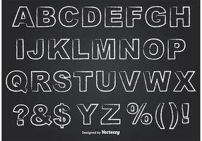 Alfabeto stile lavagna delineato vettore