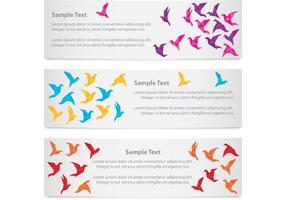 striscioni origami uccelli vettore