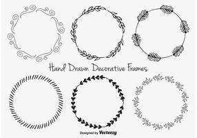 Cornici decorative disegnate a mano vettore