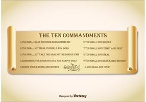 Dieci comandamenti su rotolo di carta