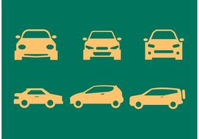 Sagome di auto davanti e vista laterale vettore