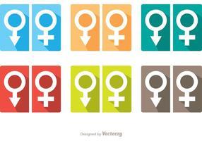 Pacchetto di vettore delle icone della toilette di simbolo della donna e dell'uomo