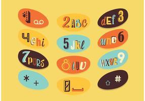 Retro lettera e numeri vettori