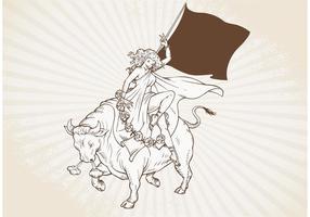 Vettore di toro di ricarica disegnato a mano d'epoca gratuito