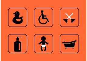 Icone di vettore di teal restroom