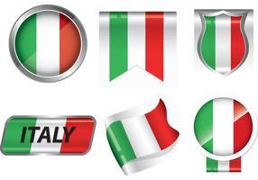 Vettori di Badge bandiera italiana