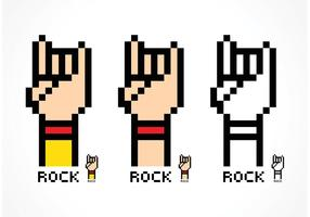 Vettore Pixel Rock and Roll Hand Sign