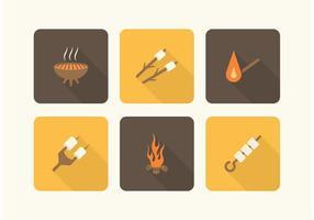 Icone di vettore del fuoco e di Marshmallows del campo