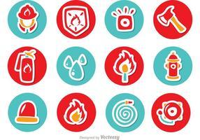 pacchetto di icone di cerchio icone vigile del fuoco vettore