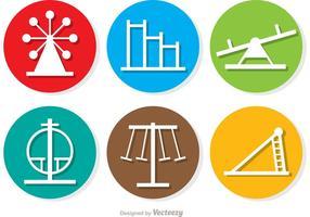 Pacchetto di icone di cerchio icone parco giochi vettore