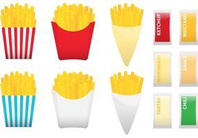 Patatine fritte con condimenti vettore