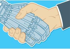 Stretta di mano di vettore della mano e del robot umani