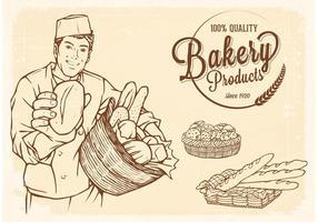 Vettore libero disegnato vecchio cestino con pane