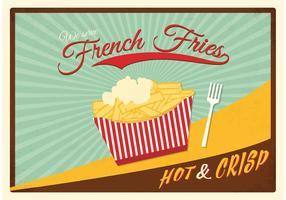 Retro patatine fritte con salsa Poster vettoriale