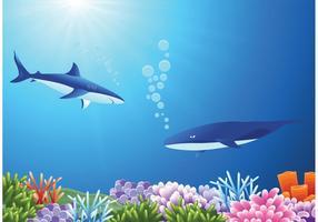 Grandi squali bianchi gratis nel vettore del mare profondo