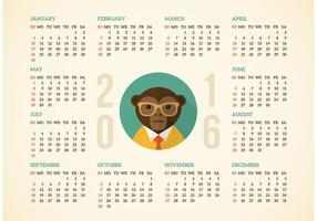 Calendario gratuito 2016 con Hipster Monkey vettoriale