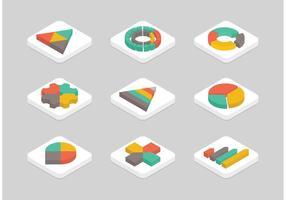 Set di icone vettoriali piatto isometrica gratis