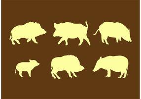 Sagome di maiale selvatico vettore