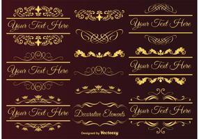 Elementi di design oro vettore