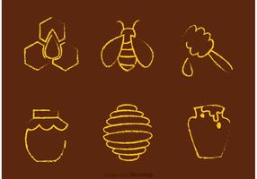 Chalk Drawn Bee And Honey Vectors