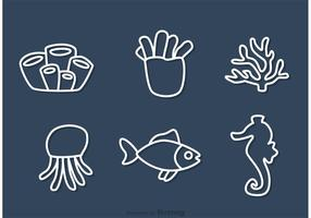 Outline Coral Reef And Fish Vectors