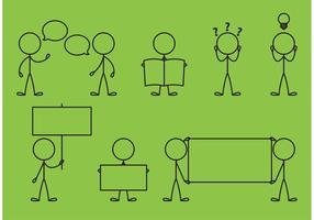 Stick Figure Icons Messaggi vettore