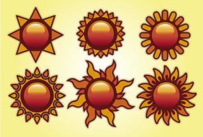 Insieme vettoriale di sole estivo