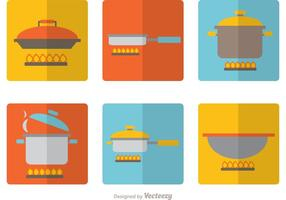 Pacchetto di vettore delle icone piane di attrezzature di cottura