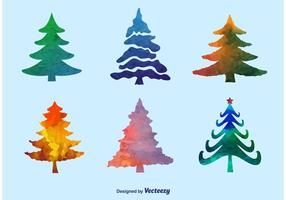 Vettori dell'albero di pino dell'acquerello