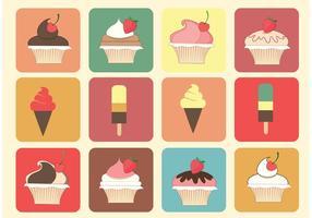 Vettori gratuiti di muffin e gelato